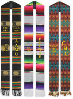 set of 3 ethnic sashes: kente, mexican and native