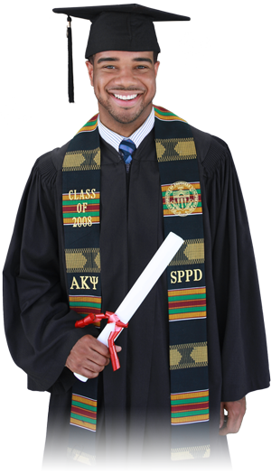 Student wearing a Kente Graduation Stole